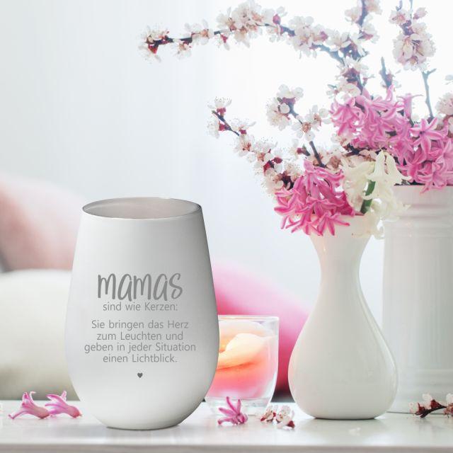 """Weißes Windlicht """"Mamas sind wie Kerzen"""" aus Glas"""