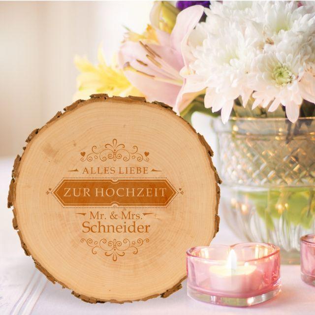 """Baumscheibe """"Mr & Mrs"""" - personalisiert"""