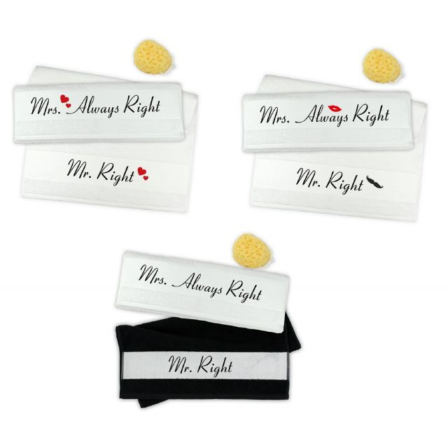 """Handtuch-Set """"Mr. Right & Mrs. Always Right"""" (verschiedene Designs)"""