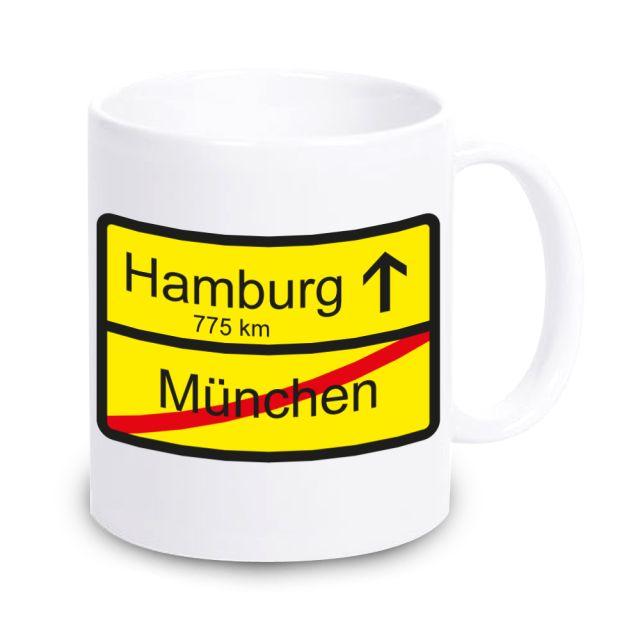 """Tasse """"Ortsschild"""" zum Umzug / Eigenheim"""