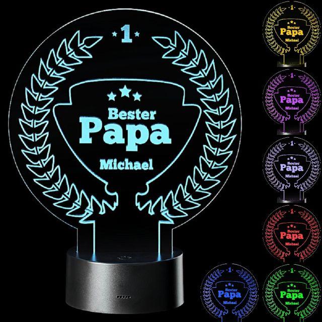 "LED Motivlampe - personalisierte 3D Leuchte ""Bester Papa"""