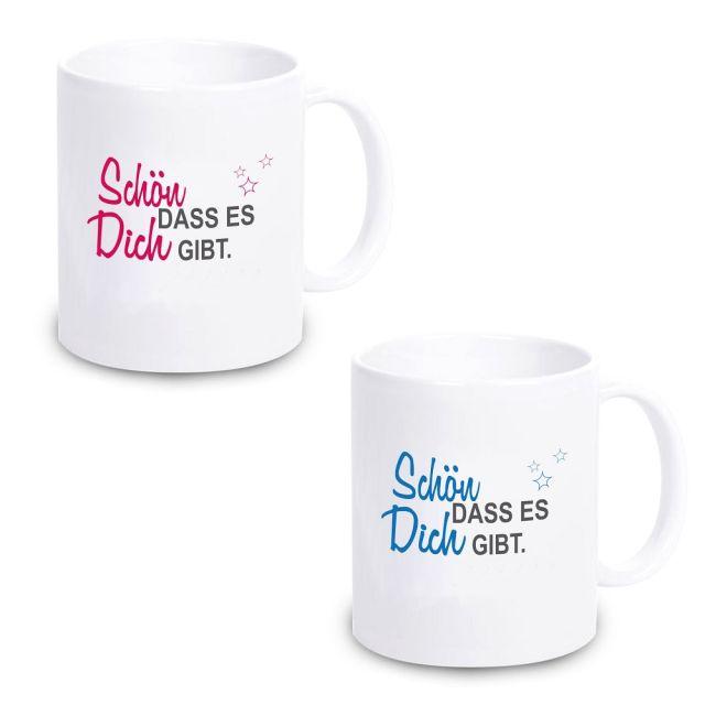 """Tasse """"Schön dass es Dich gibt.""""  (Design: blau oder pink)"""