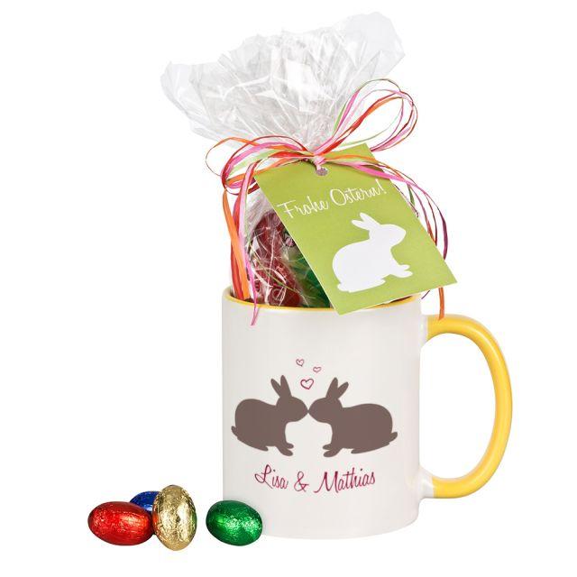 """Tasse """"Küssende Hasen"""" mit Schokolade - personalisiert"""