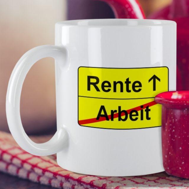 """Weiße Tasse """"Arbeit → Rente"""""""