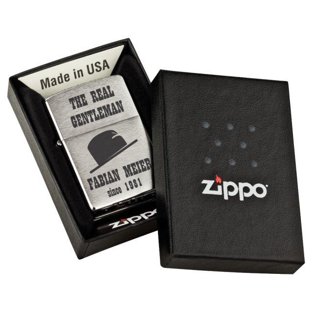 """Personalisiertes Zippo Feuerzeug """"The real Gentleman"""" - Design: Hut"""