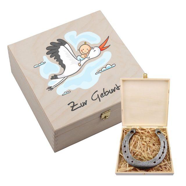 """Hufeisen-Box """"Zur Geburt"""" (Storch)"""