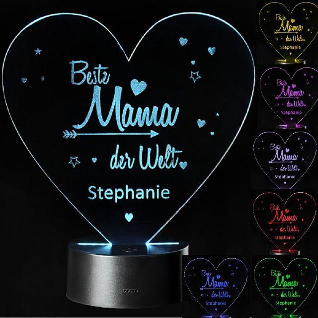 "LED 3D Motivlampe ""Beste Mama der Welt"" mit Namensgravur personalisierbar"